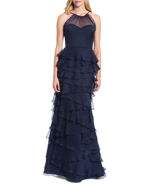 Badgley Mischka   Blue Tiered Ruffle Skirt Evening Gown   Lyst