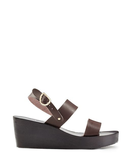 ancient sandals leather wedge sandals brown in