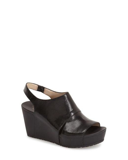 Dr Scholls Weslyn Leather Wedge Sandals In Black Black