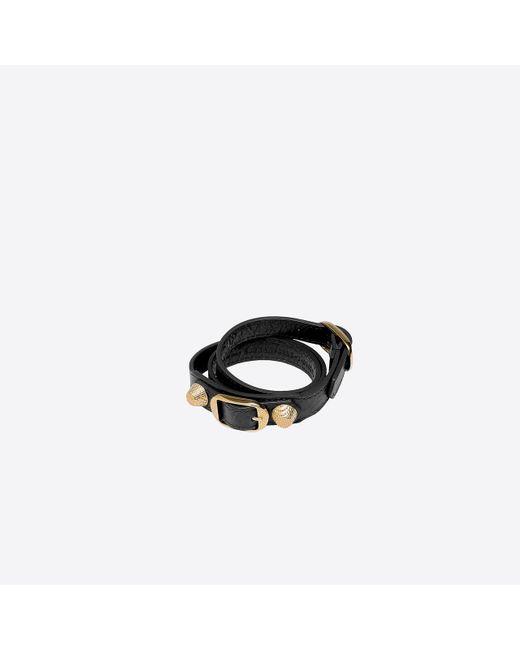 Balenciaga | Black Giant Gold Bracelet Triple Tour | Lyst