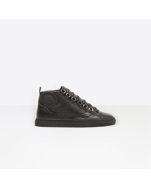 Balenciaga - Black Arena Leather High-Top Sneakers - Lyst