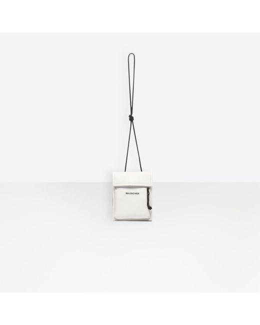 c9ccb6f75b1 ... Balenciaga - White Explorer Pouch Crossbody Bag for Men - Lyst ...