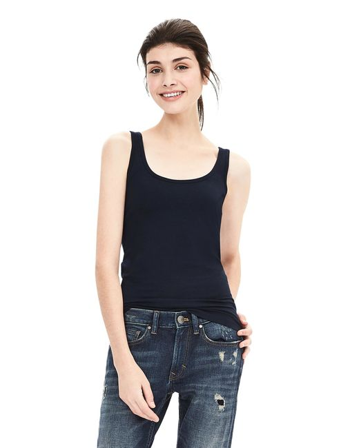 Banana Republic | Blue Essential Stretch-to-fit Tank | Lyst
