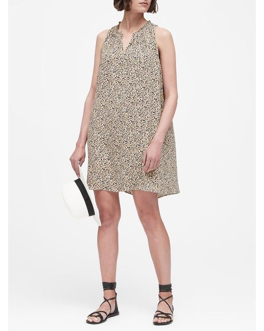 69b17c82f1d3 Banana Republic - Brown Print Pleated Swing Dress - Lyst ...