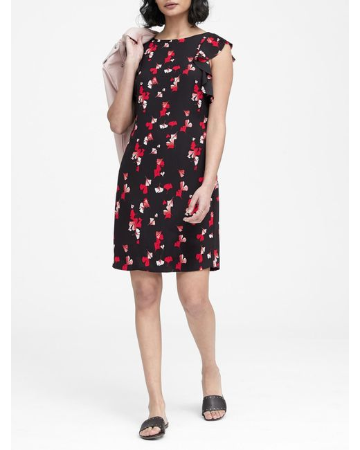 33ec0f03e6 Banana Republic - Black Floral Flutter-sleeve Shift Dress - Lyst ...