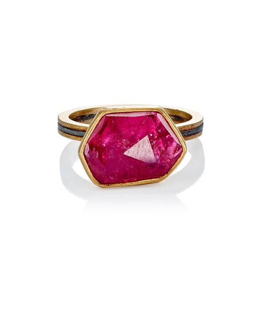 Judy Geib - Red Ruby Slice & Pavé Ring Size 6.25 - Lyst