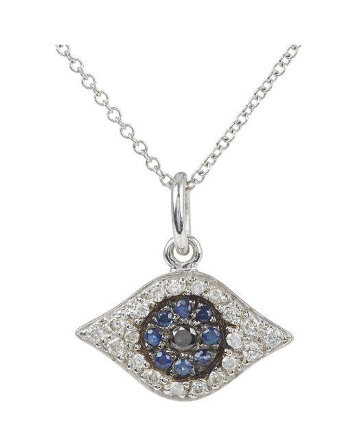 Ileana Makri Blue Kitten Eye Pendant Necklace