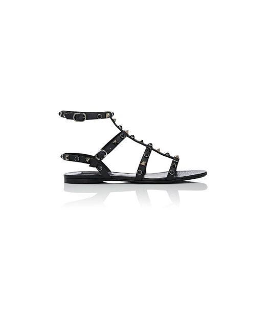 Valentino - Black Rockstud Rolling Leather Gladiator Sandals - Lyst
