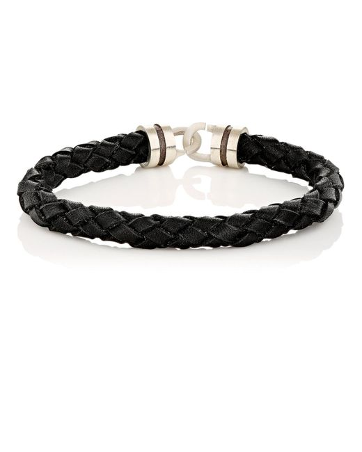 Zadeh | Black Sterling Silver & Braided Leather Bracelet for Men | Lyst