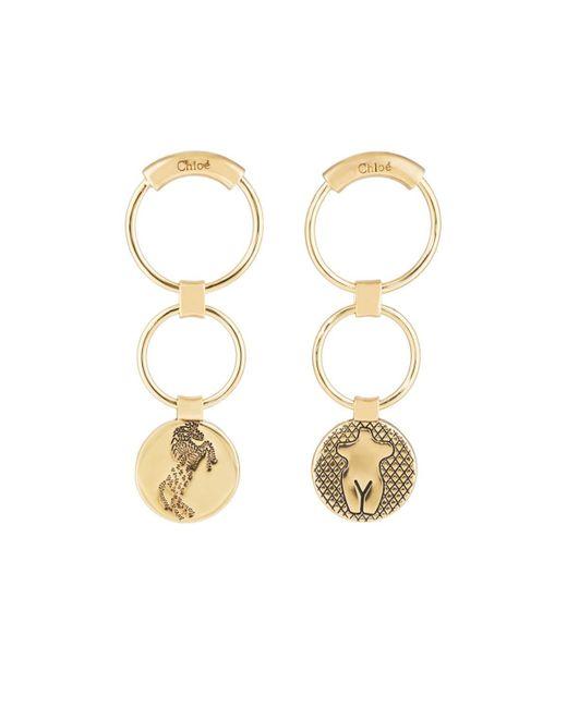 Chloé Metallic Emoji Medallion Earrings