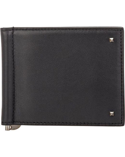Valentino - Black Rockstud Money Clip Billfold for Men - Lyst