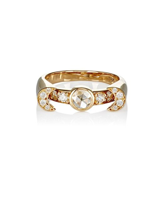 Pamela Love - Yellow White Diamond Luna Ring Size 6 - Lyst