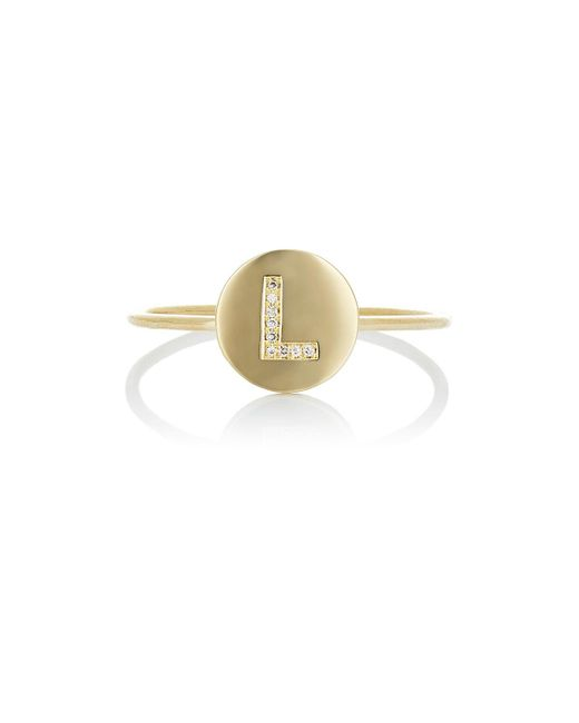 Jennifer Meyer | Metallic Mini Initial Disc Ring | Lyst