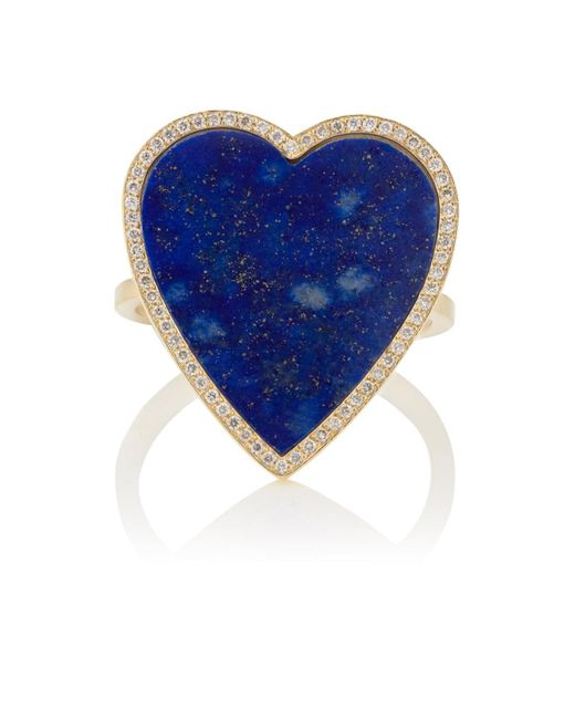 Jennifer Meyer - Blue Lapis-lazuli-inlay & Diamond Heart Ring - Lyst