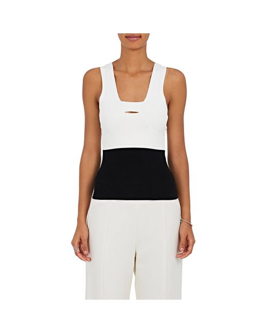 Narciso Rodriguez - Black Colorblocked Knit Fitted Top - Lyst