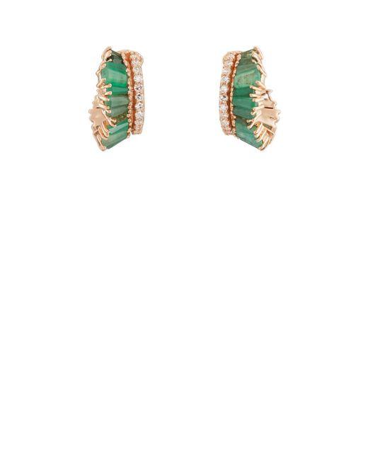 Nak Armstrong - Green Ruched Hoop Earrings - Lyst