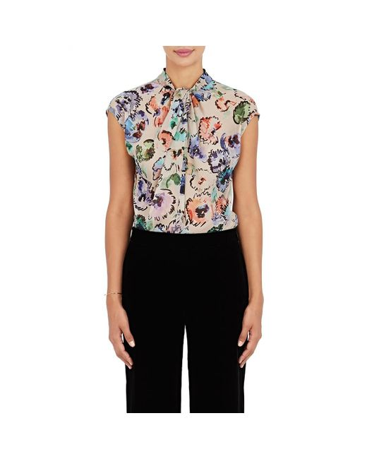 Giorgio Armani - White Watercolor-flower-print Silk Blouse - Lyst