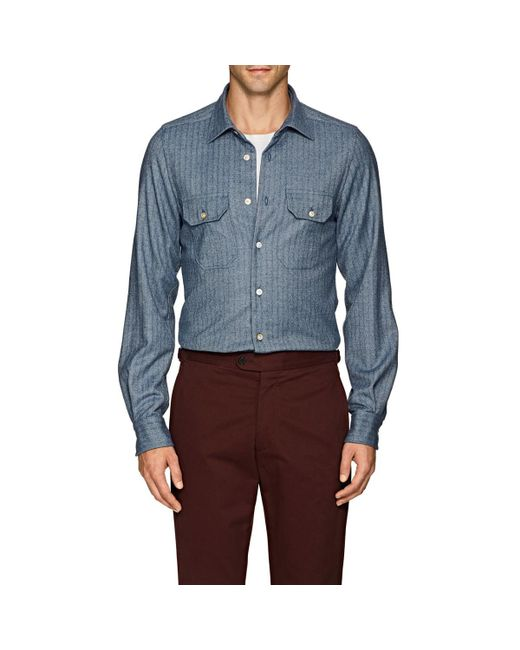 Kiton - Blue Herringbone Wool Shirt for Men - Lyst
