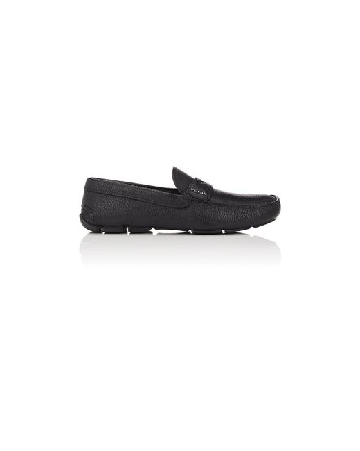 Prada | Black Grained Leather Penny Drivers | Lyst