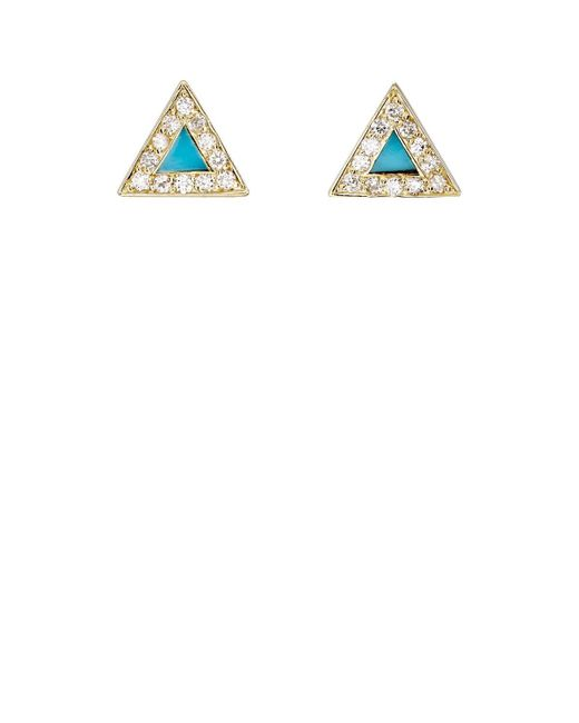 Jennifer Meyer - White Diamond & Turquoise Triangle Stud Earrings - Lyst