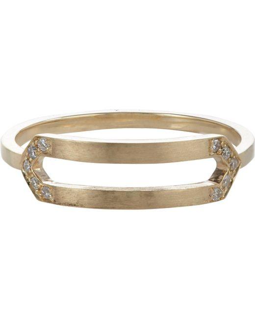 Jennie Kwon | Metallic Pavé Diamond & Gold Elongated Hexagon Ring | Lyst