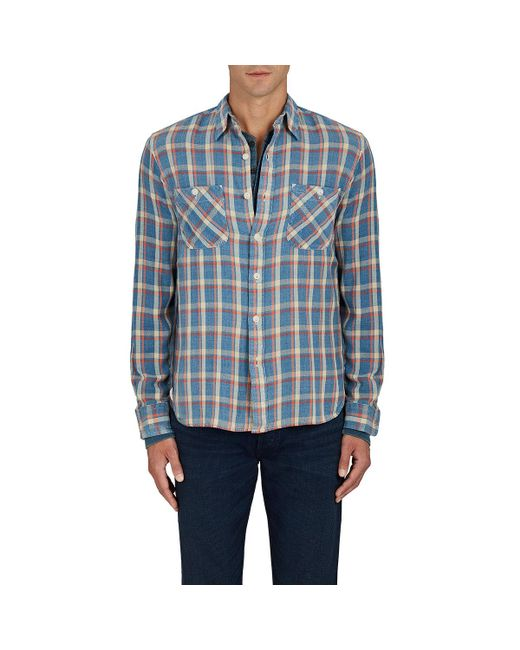Lyst Rrl Cody Plaid Cotton Work Shirt In Blue For Men