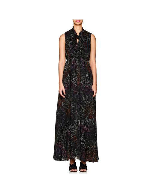 Co. - Black Micro-floral Pleated Silk Chiffon Dress - Lyst
