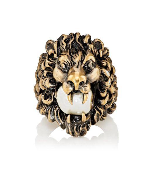 Gucci | Metallic Lion Head Ring for Men | Lyst