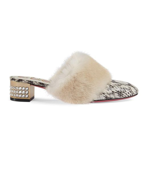 Gucci - White Candy Fur-trimmed Snakeskin Mules - Lyst