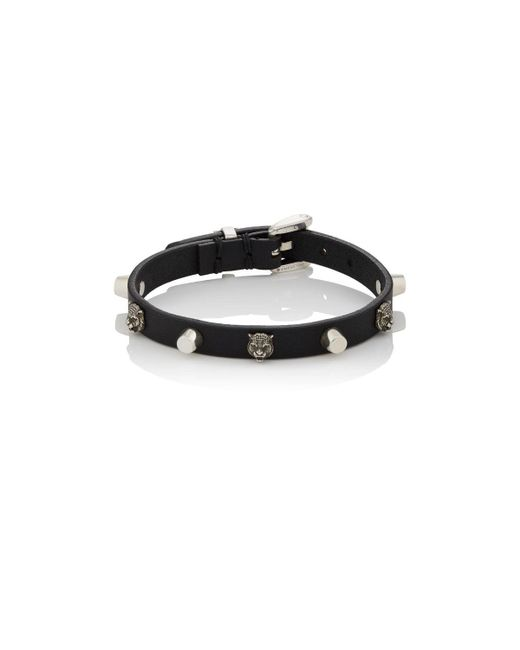 Gucci - Black Leather & Silver Buckled Bracelet for Men - Lyst