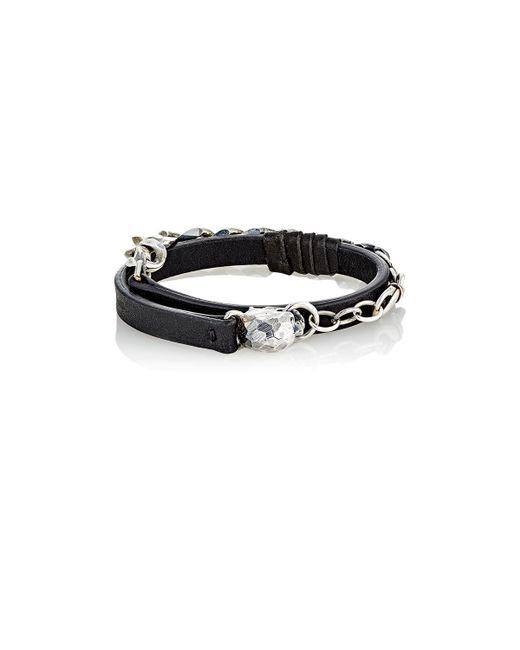 Emanuele Bicocchi - Black Leather & Sterling Silver Wrap Bracelet for Men - Lyst