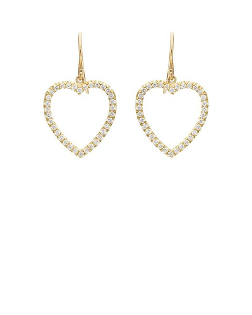 Jennifer Meyer - Metallic White Diamond Large Open Heart Drop Earrings - Lyst