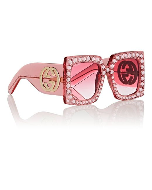 f04f9fb4f1bf3 Gucci Oversize Square-frame Acetate Sunglasses in Pink - Save 33% - Lyst