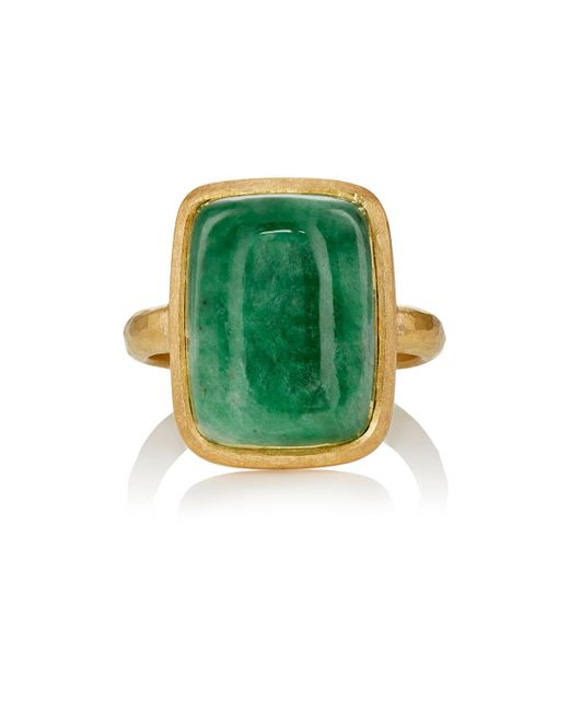 Malcolm Betts | Metallic Jade Cabochon & Yellow Gold Ring | Lyst