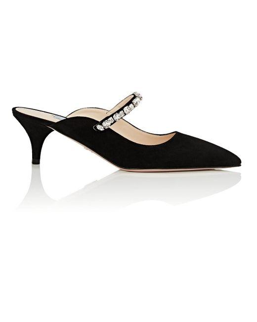 Prada - Black Crystal-embellished Suede Mules - Lyst