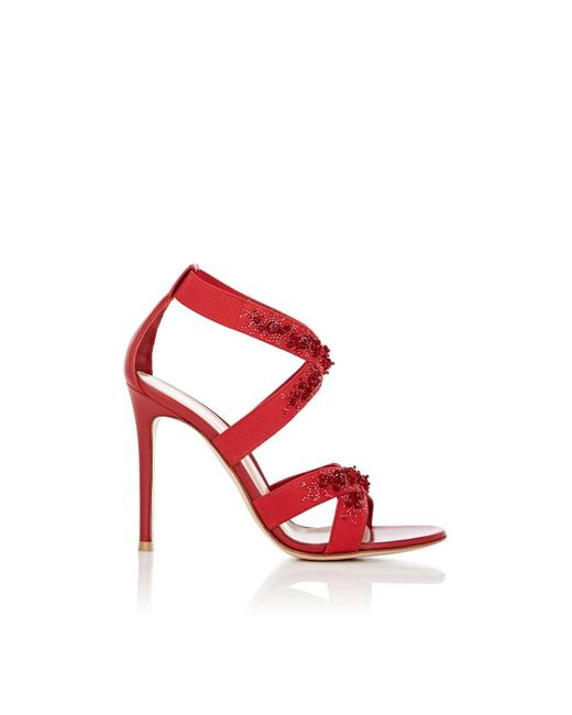 Gianvito Rossi - Red Leather & Elastic Crisscross-strap Sandals - Lyst