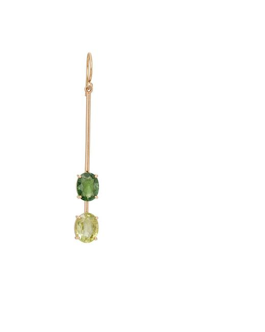 Irene Neuwirth | Green Tourmaline & Diamond Drop Earring | Lyst