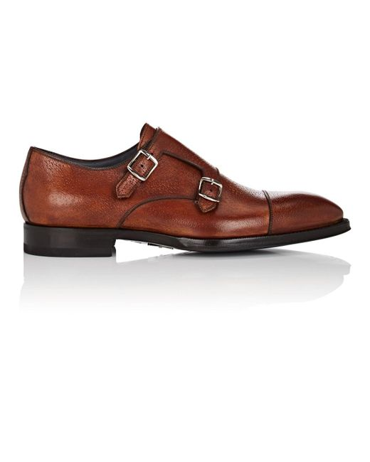 Di Bianco - Brown Cap-toe Leather Double-monk-strap Shoes for Men - Lyst