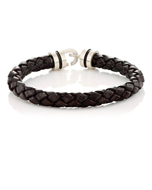 Zadeh | Black Sterling Silver & Braided Leather Bracelet for Men | Lyst