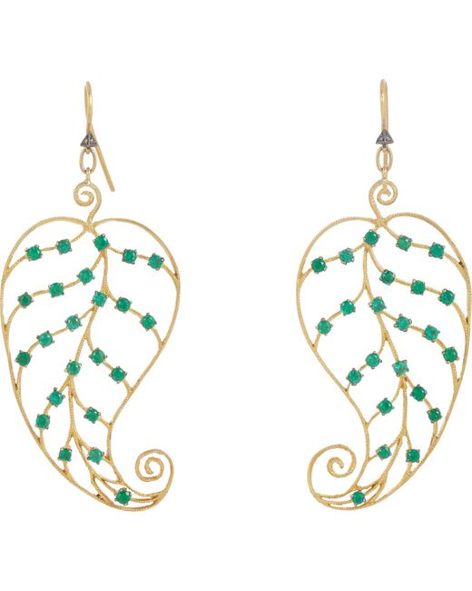 Cathy Waterman | Metallic Emerald & Gold Leaf Earrings | Lyst