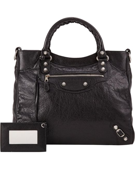 Balenciaga | Black Arena Leather Giant Velo Bag | Lyst
