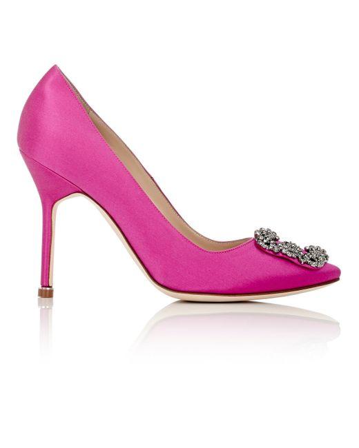 Manolo Blahnik | Pink Hangisi Bejeweled Pumps | Lyst