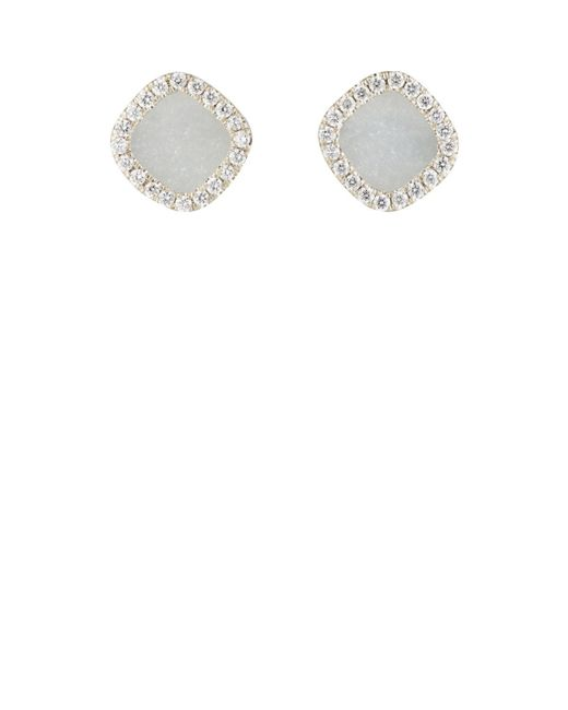 Monique Péan | White Diamond & Grey Guatemalan Jade Studs | Lyst