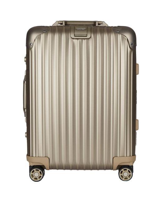 rimowa topas titanium 22 cabin multiwheel iata suitcase in gray for men lyst. Black Bedroom Furniture Sets. Home Design Ideas