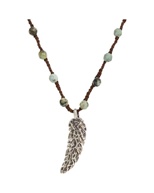 Feathered Soul | Blue Feather Pendant On Turquoise Bead & Silk Cord for Men | Lyst