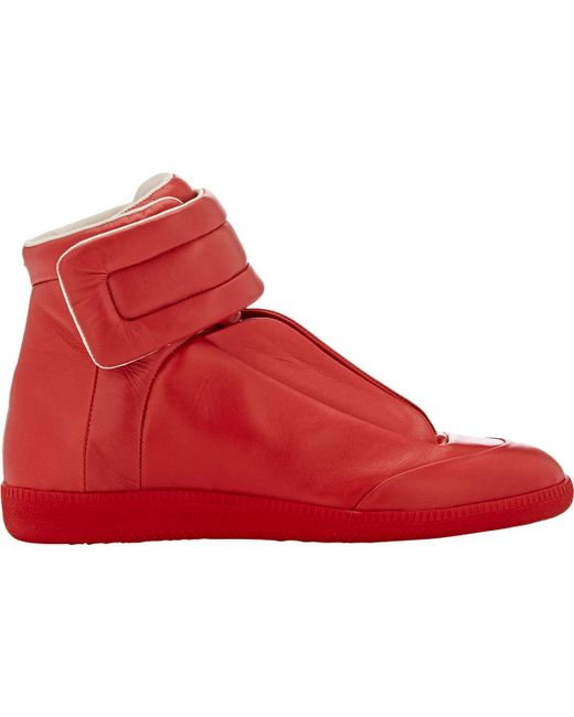 Maison Margiela | Red Future Soft Leather High Top Sneakers for Men | Lyst