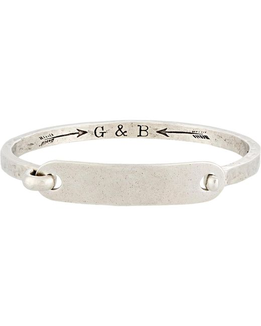 Giles & Brother | Metallic id Tag With Hinge Cuff Bracelet for Men | Lyst