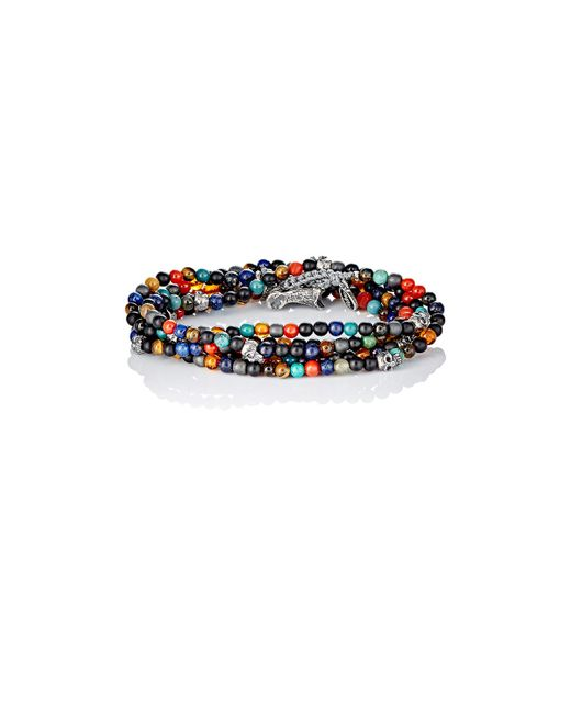 M. Cohen | Multicolor Bead & Skull Charm Wrap Bracelet for Men | Lyst