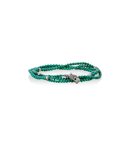 M. Cohen | Green Bead & Skull Charm Wrap Bracelet for Men | Lyst