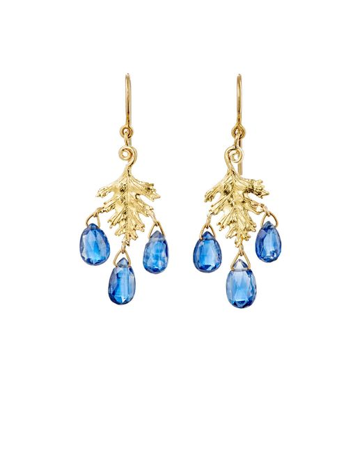 Cathy Waterman | Blue Leaf Drop Earrings | Lyst